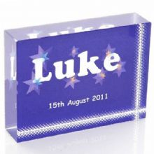 Boy's Name Crystal Keepsake - Personalised Baby Boy, Christening or Naming Day Gift